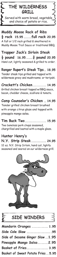 North Conway Family Dining Menu